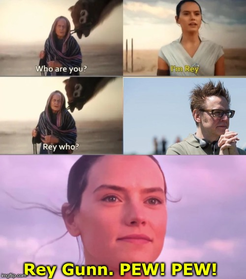 Rey Who? |  Rey Gunn. PEW! PEW! | image tagged in rey who | made w/ Imgflip meme maker