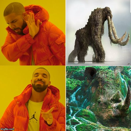 image tagged in godzilla,drake hotline bling,rhino,memes,behemoth | made w/ Imgflip meme maker