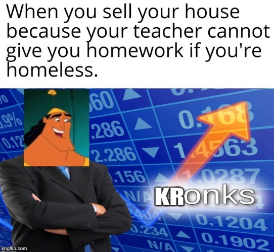 Kronks or stonks? | image tagged in stonks,homework,school,homeless | made w/ Imgflip meme maker