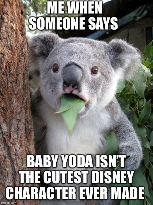 Surprised Koala |  ME WHEN SOMEONE SAYS; BABY YODA ISN'T THE CUTEST DISNEY CHARACTER EVER MADE | image tagged in memes,surprised koala | made w/ Imgflip meme maker