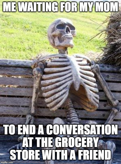 Waiting Skeleton | ME WAITING FOR MY MOM TO END A CONVERSATION AT THE GROCERY STORE WITH A FRIEND | image tagged in memes,waiting skeleton | made w/ Imgflip meme maker