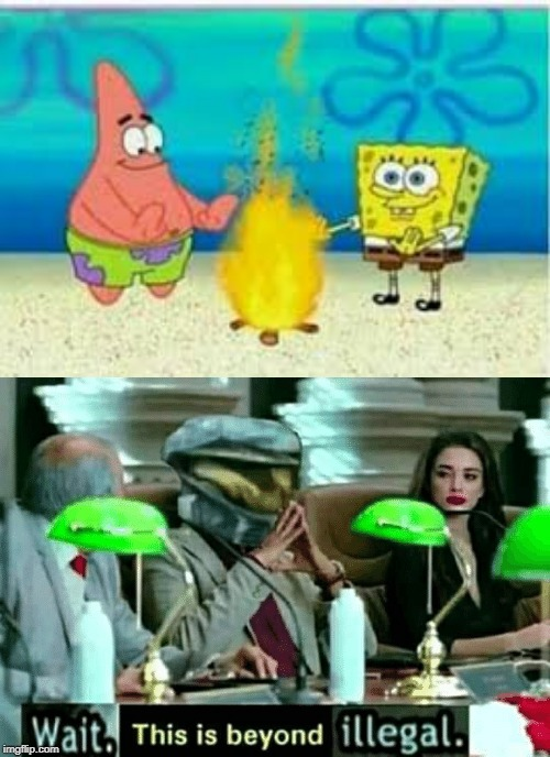 how is spongebob lighting a fire in the ocean? | image tagged in wait this is beyond illegal,spongebob,memes | made w/ Imgflip meme maker