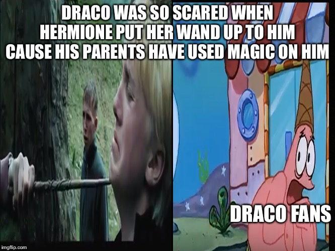 We must protecc Draco | DRACO WAS SO SCARED WHEN HERMIONE PUT HER WAND UP TO HIM CAUSE HIS PARENTS HAVE USED MAGIC ON HIM DRACO FANS | image tagged in draco malfoy,harry potter,when you realize,that moment when you realize,spongebob,spongebob meme | made w/ Imgflip meme maker