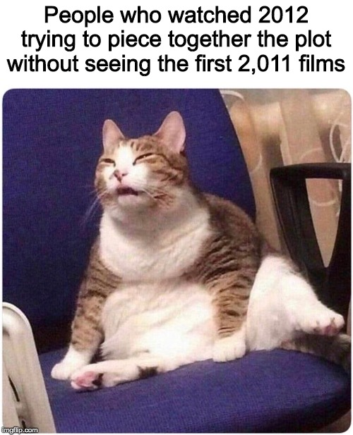 Up√0†¡πg ge†5 ¥0u p0¡π†5! | People who watched 2012 trying to piece together the plot without seeing the first 2,011 films | image tagged in fat cat,funny,memes | made w/ Imgflip meme maker