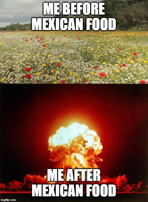 ME BEFORE MEXICAN FOOD ME AFTER MEXICAN FOOD | image tagged in memes,nuclear explosion | made w/ Imgflip meme maker