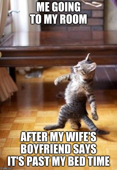 Cool Cat Stroll |  ME GOING TO MY ROOM; AFTER MY WIFE'S BOYFRIEND SAYS IT'S PAST MY BED TIME | image tagged in memes,cool cat stroll | made w/ Imgflip meme maker