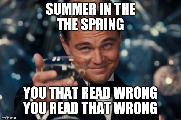 Leonardo Dicaprio Cheers Meme | SUMMER IN THE THE SPRING YOU THAT READ WRONG YOU READ THAT WRONG | image tagged in memes,leonardo dicaprio cheers | made w/ Imgflip meme maker