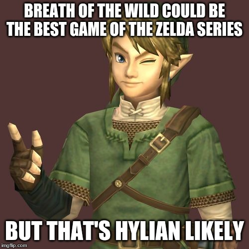 Zelda | BREATH OF THE WILD COULD BE THE BEST GAME OF THE ZELDA SERIES BUT THAT'S HYLIAN LIKELY | image tagged in zelda | made w/ Imgflip meme maker