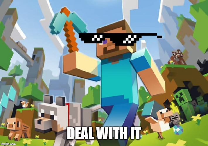 Minecraft  |  DEAL WITH IT | image tagged in minecraft | made w/ Imgflip meme maker