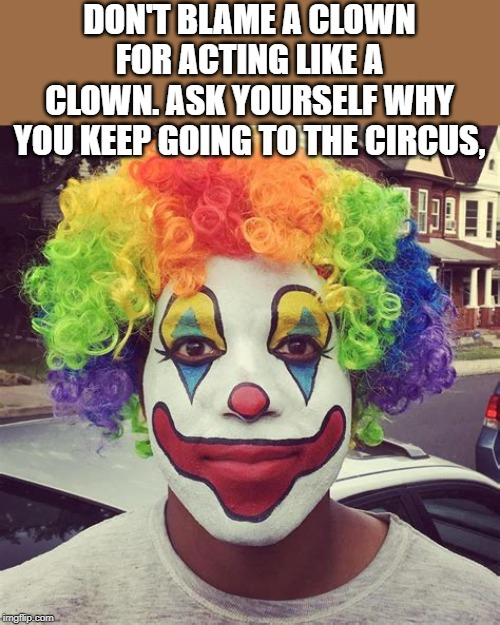 stop going to the circus | DON'T BLAME A CLOWN FOR ACTING LIKE A CLOWN. ASK YOURSELF WHY YOU KEEP GOING TO THE CIRCUS, | image tagged in clown,circus,drama | made w/ Imgflip meme maker