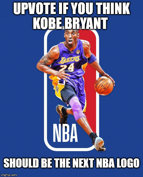 Kobe Bryant NBA Logo | UPVOTE IF YOU THINK KOBE BRYANT SHOULD BE THE NEXT NBA LOGO | image tagged in kobe bryant,nba,logo | made w/ Imgflip meme maker