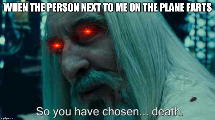 So you have chosen death | WHEN THE PERSON NEXT TO ME ON THE PLANE FARTS | image tagged in so you have chosen death | made w/ Imgflip meme maker