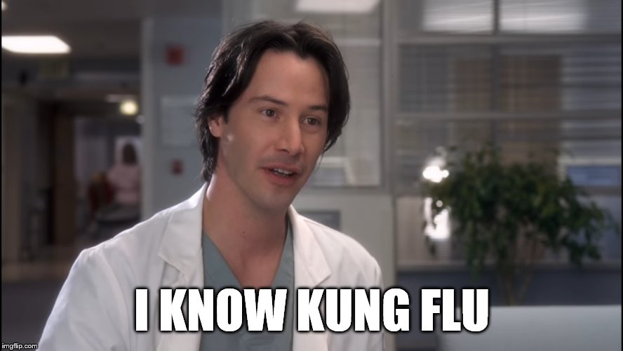 Kung Flu |  I KNOW KUNG FLU | image tagged in keanu reeves,kung fu,coronavirus | made w/ Imgflip meme maker