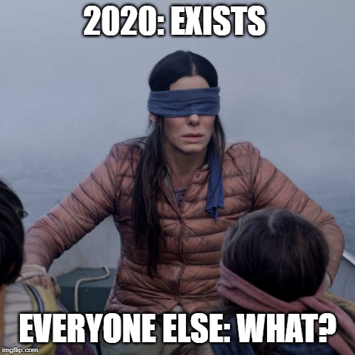 2020 is off to a great start! |  2020: EXISTS; EVERYONE ELSE: WHAT? | image tagged in memes,bird box,2020,horrible,new year | made w/ Imgflip meme maker