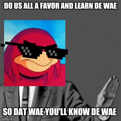 DO US ALL A FAVOR AND LEARN DE WAE SO DAT WAE YOU'LL KNOW DE WAE | image tagged in correction guy,memes,ugandan knuckles,de wae,dank memes,funny memes | made w/ Imgflip meme maker