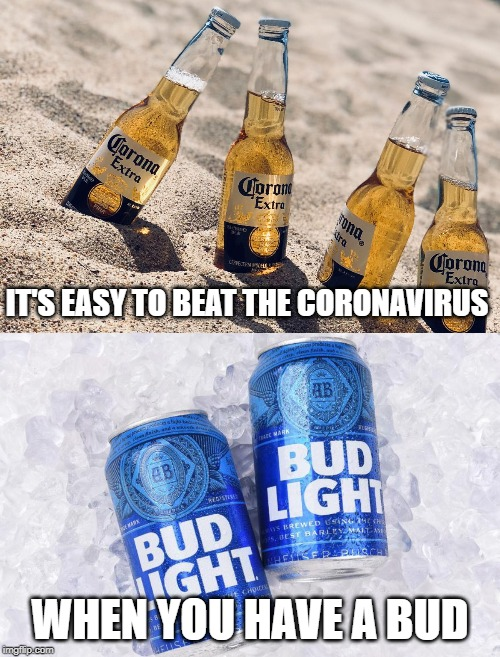 So let's ride it out with a drink in our hand | IT'S EASY TO BEAT THE CORONAVIRUS WHEN YOU HAVE A BUD | image tagged in coronavirus,corona,bud light,beer | made w/ Imgflip meme maker