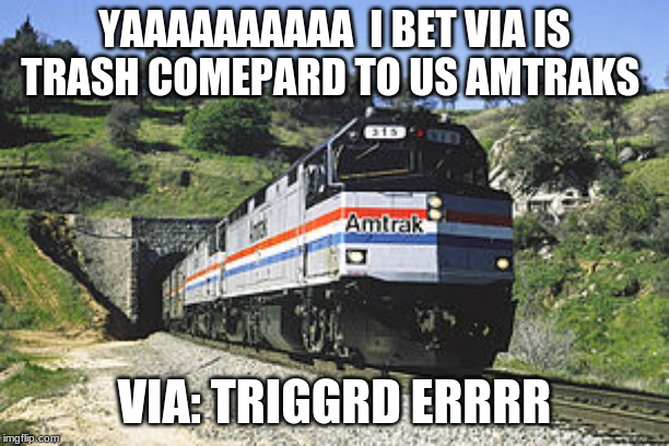 F40PH amtrack awww yeh |  YAAAAAAAAAA  I BET VIA IS TRASH COMEPARD TO US AMTRAKS; VIA: TRIGGRD ERRRR | image tagged in f40ph amtrack awww yeh | made w/ Imgflip meme maker