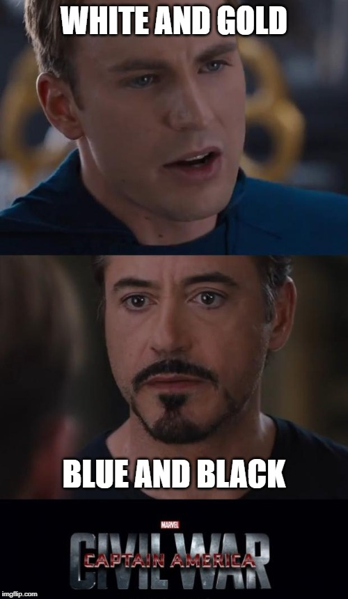 Marvel Civil War |  WHITE AND GOLD; BLUE AND BLACK | image tagged in memes,marvel civil war | made w/ Imgflip meme maker