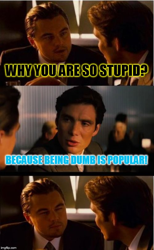 Are you?! |  WHY YOU ARE SO STUPID? BECAUSE BEING DUMB IS POPULAR! | image tagged in memes,inception,stupid,stupid people,trends,stupid humor | made w/ Imgflip meme maker