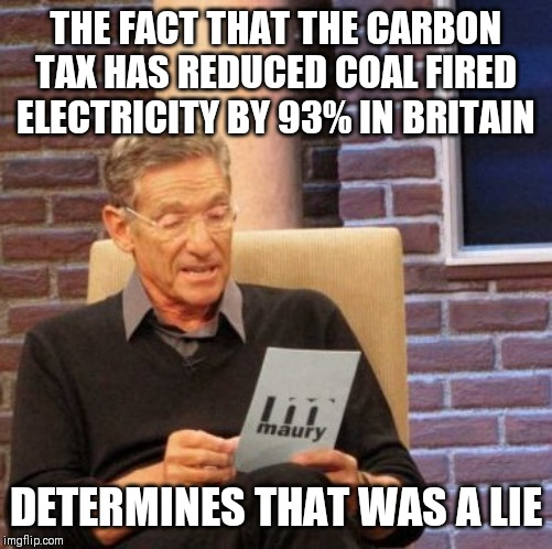 Maury Lie Detector |  THE FACT THAT THE CARBON TAX HAS REDUCED COAL FIRED ELECTRICITY BY 93% IN BRITAIN; DETERMINES THAT WAS A LIE | image tagged in memes,maury lie detector,AdviceAnimals | made w/ Imgflip meme maker