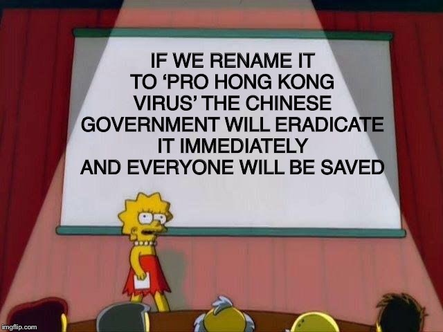 I've figured out the cure | IF WE RENAME IT TO 'PRO HONG KONG VIRUS' THE CHINESE GOVERNMENT WILL ERADICATE IT IMMEDIATELY AND EVERYONE WILL BE SAVED | image tagged in lisa simpson's presentation,china,coronavirus,big brain | made w/ Imgflip meme maker