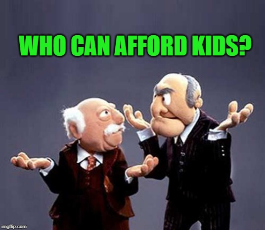 statler and waldorf | WHO CAN AFFORD KIDS? | image tagged in statler and waldorf | made w/ Imgflip meme maker
