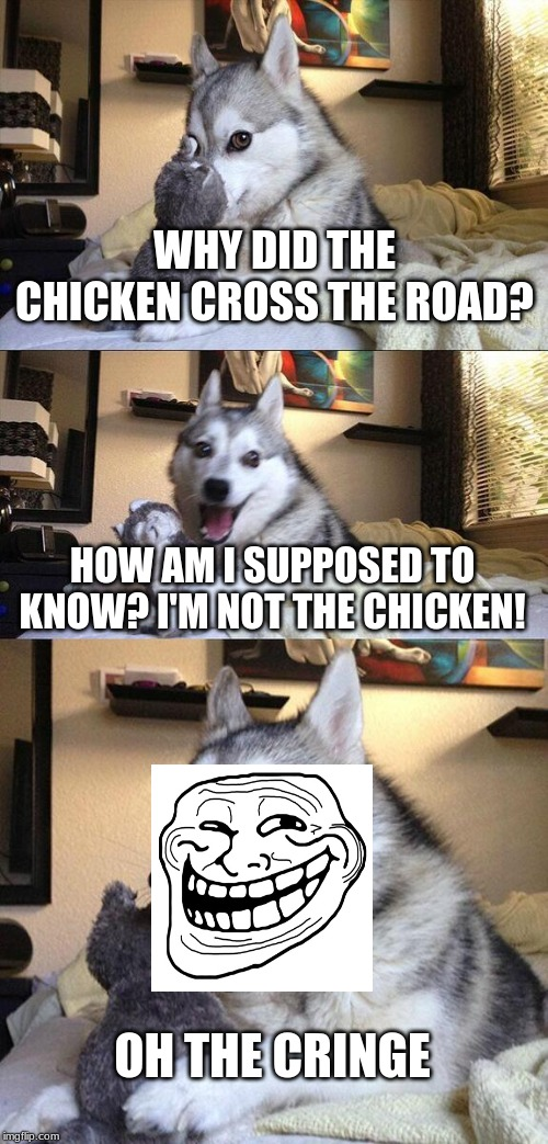Bad Pun Dog Meme |  WHY DID THE CHICKEN CROSS THE ROAD? HOW AM I SUPPOSED TO KNOW? I'M NOT THE CHICKEN! OH THE CRINGE | image tagged in memes,bad pun dog | made w/ Imgflip meme maker