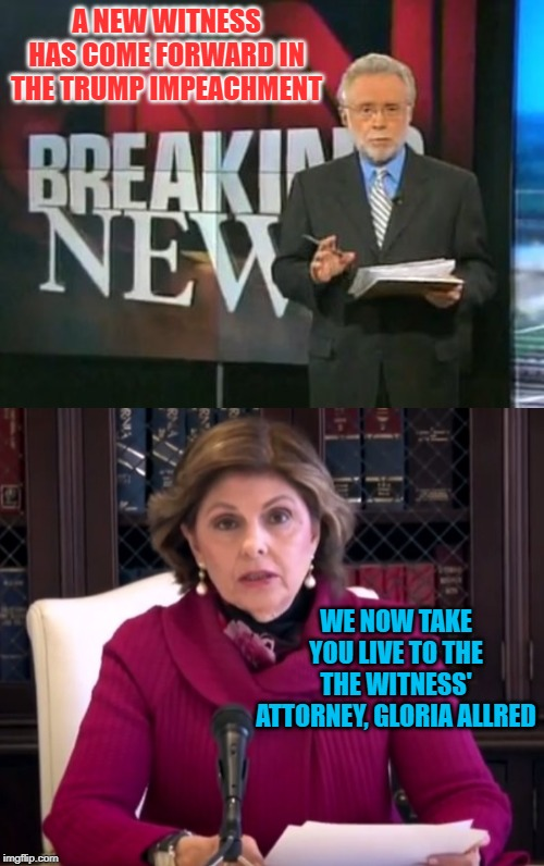 We know the playbook. |  A NEW WITNESS HAS COME FORWARD IN THE TRUMP IMPEACHMENT; WE NOW TAKE YOU LIVE TO THE THE WITNESS' ATTORNEY, GLORIA ALLRED | image tagged in cnn breaking news,trump impeachment,witnesses | made w/ Imgflip meme maker