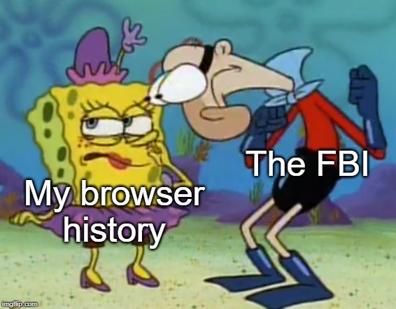 Barnacle Boy Staring At SpongeBob |  The FBI; My browser history | image tagged in barnacle boy staring at spongebob,fbi,the fbi,my browser history,spongebob,barnacle boy | made w/ Imgflip meme maker
