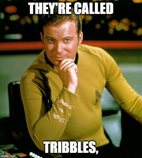 captain kirk | THEY'RE CALLED TRIBBLES, | image tagged in captain kirk | made w/ Imgflip meme maker
