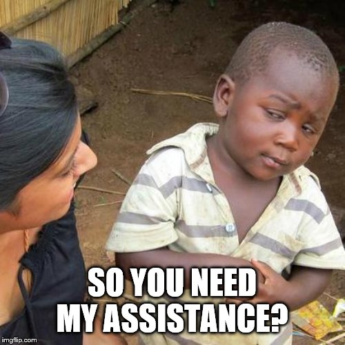 Third World Skeptical Kid Meme | SO YOU NEED MY ASSISTANCE? | image tagged in memes,third world skeptical kid | made w/ Imgflip meme maker
