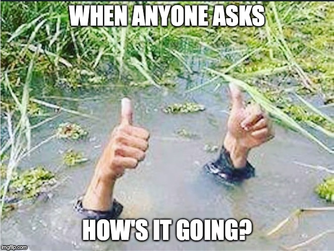 WHEN ANYONE ASKS HOW'S IT GOING? | image tagged in thumbs up,drowning thumbs up | made w/ Imgflip meme maker