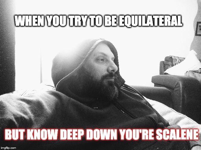 Tri | WHEN YOU TRY TO BE EQUILATERAL BUT KNOW DEEP DOWN YOU'RE SCALENE | image tagged in maths,triangles,black and white,beards,different,yoda | made w/ Imgflip meme maker