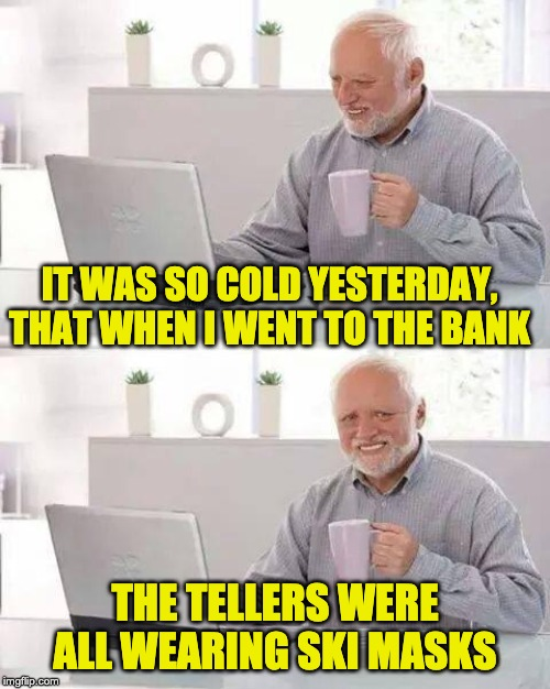 Hide the Pain Harold Meme | IT WAS SO COLD YESTERDAY, THAT WHEN I WENT TO THE BANK THE TELLERS WERE ALL WEARING SKI MASKS | image tagged in memes,hide the pain harold | made w/ Imgflip meme maker