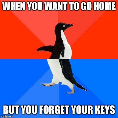 Socially Awesome Awkward Penguin |  WHEN YOU WANT TO GO HOME; BUT YOU FORGET YOUR KEYS | image tagged in memes,socially awesome awkward penguin | made w/ Imgflip meme maker