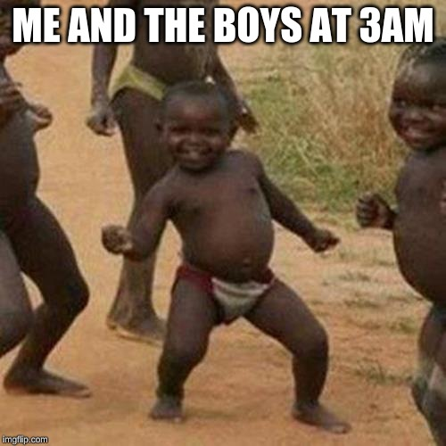 Third World Success Kid Meme | ME AND THE BOYS AT 3AM | image tagged in memes,third world success kid | made w/ Imgflip meme maker
