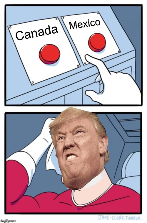 The big decision every day |  Mexico; Canada | image tagged in memes,two buttons,canada,mexico,trump,donald trump | made w/ Imgflip meme maker