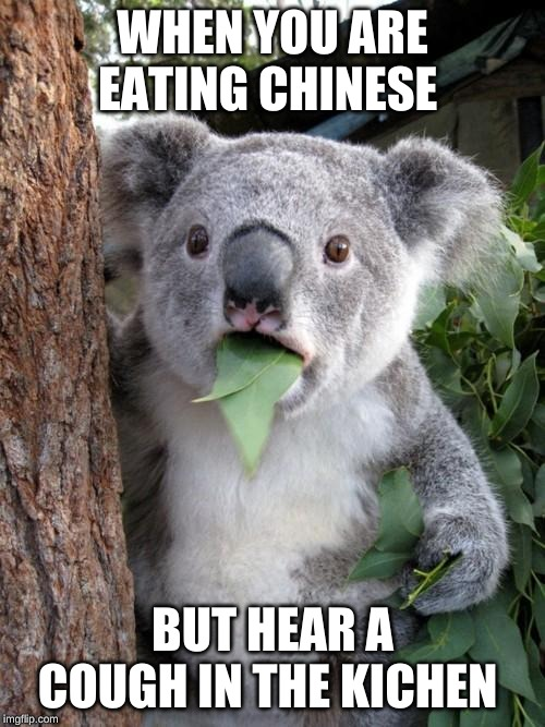 Surprised Koala |  WHEN YOU ARE EATING CHINESE; BUT HEAR A COUGH IN THE KITCHEN | image tagged in memes,surprised koala | made w/ Imgflip meme maker