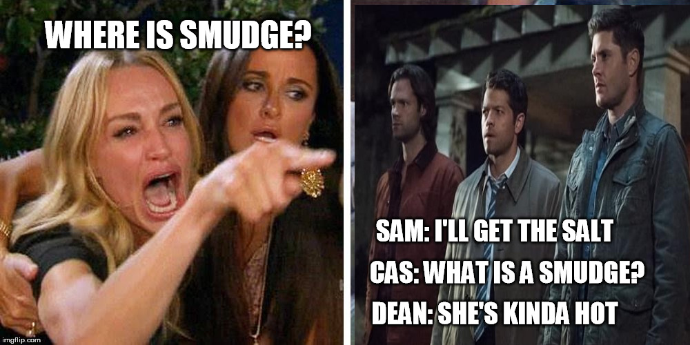 Smudge the cat | WHERE IS SMUDGE? SAM: I'LL GET THE SALT CAS: WHAT IS A SMUDGE? DEAN: SHE'S KINDA HOT | image tagged in smudge the cat,supernatural | made w/ Imgflip meme maker