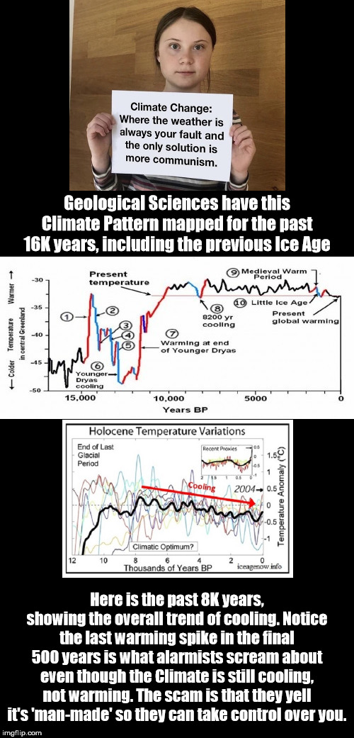The Change Isn't Denied; Claiming It's 'Man-Made' Is The Scam |  Geological Sciences have this Climate Pattern mapped for the past 16K years, including the previous Ice Age; Here is the past 8K years, showing the overall trend of cooling. Notice the last warming spike in the final 500 years is what alarmists scream about even though the Climate is still cooling, not warming. The scam is that they yell it's 'man-made' so they can take control over you. | image tagged in climate change | made w/ Imgflip meme maker