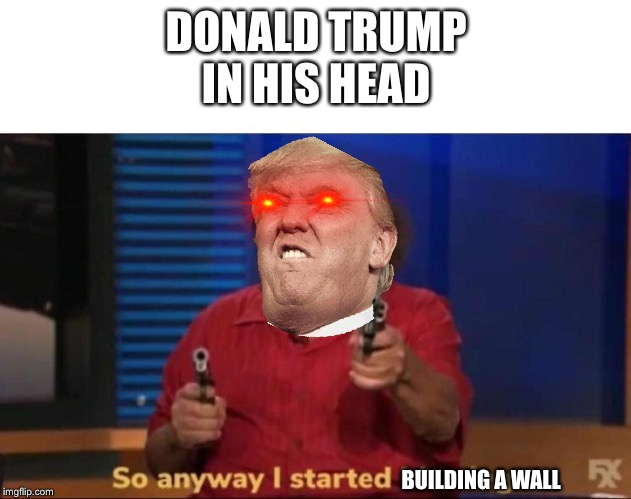 Donald Trump when he was elected President |  DONALD TRUMP IN HIS HEAD; BUILDING A WALL | image tagged in so anyway i started blasting,donald trump | made w/ Imgflip meme maker