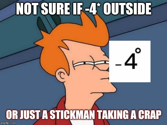 Futurama Fry | NOT SURE IF -4* OUTSIDE OR JUST A STICKMAN TAKING A CRAP | image tagged in memes,futurama fry | made w/ Imgflip meme maker
