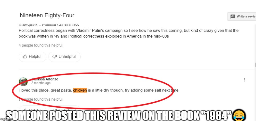 "Funny Review | SOMEONE POSTED THIS REVIEW ON THE BOOK ""1984""? 