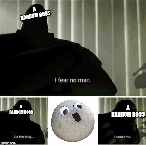 I fear no man |  A RANDOM BOSS; A RANDOM BOSS; A RANDOM BOSS | image tagged in i fear no man | made w/ Imgflip meme maker