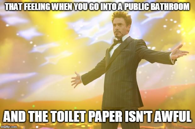 Tony Stark success |  THAT FEELING WHEN YOU GO INTO A PUBLIC BATHROOM; AND THE TOILET PAPER ISN'T AWFUL | image tagged in tony stark success | made w/ Imgflip meme maker