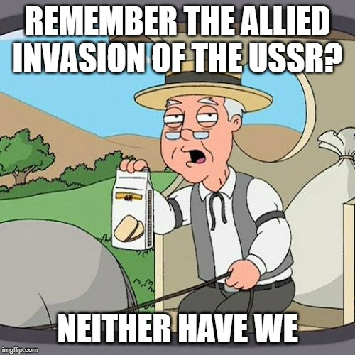 Pepperidge Farm Remembers | REMEMBER THE ALLIED INVASION OF THE USSR? NEITHER HAVE WE | image tagged in memes,pepperidge farm remembers | made w/ Imgflip meme maker