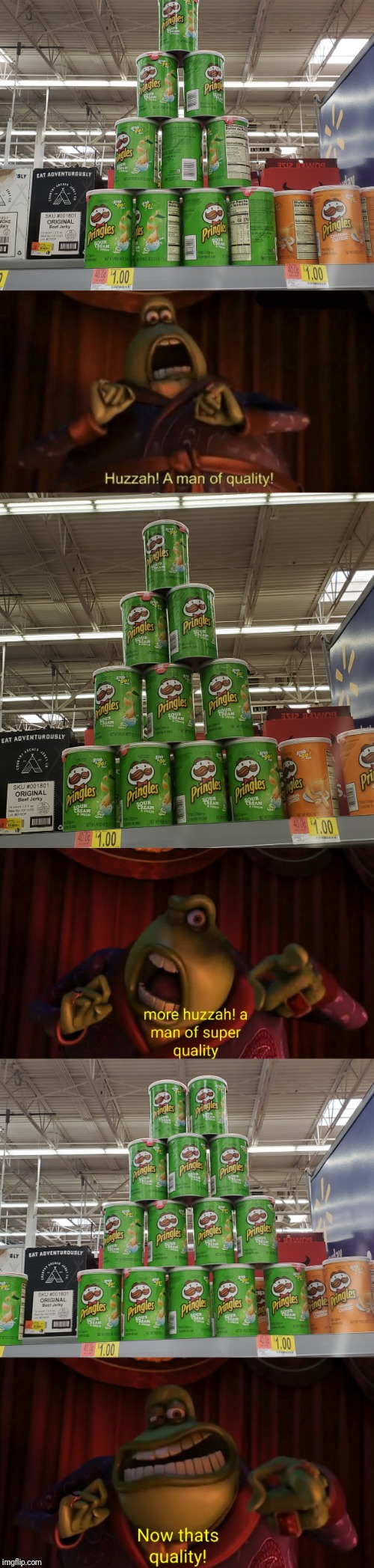 image tagged in a man of quality,pringles,quality,memes,stack,you had one job | made w/ Imgflip meme maker