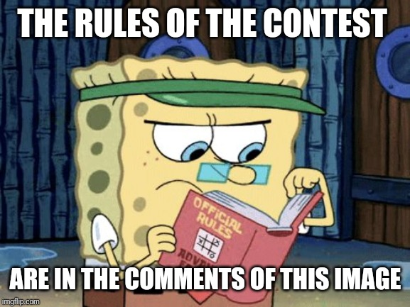 sponge bob rule book | THE RULES OF THE CONTEST ARE IN THE COMMENTS OF THIS IMAGE | image tagged in sponge bob rule book | made w/ Imgflip meme maker