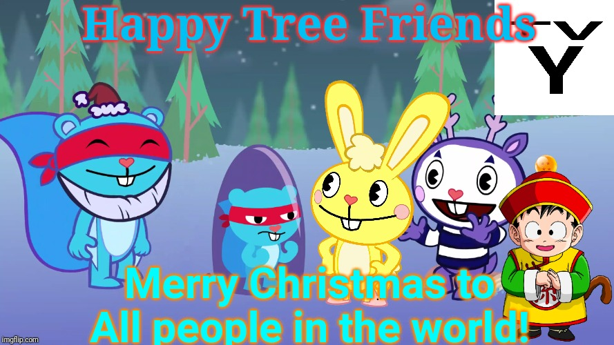 Merry Christmas to HTF! |  Happy Tree Friends; Merry Christmas to All people in the world! | image tagged in happy tree friends,animation,cartoon,christmas,snow | made w/ Imgflip meme maker