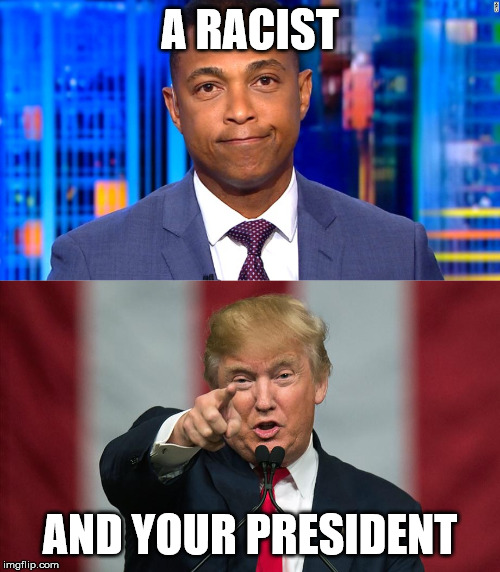 Don Lemon is the real racist... |  A RACIST; AND YOUR PRESIDENT | image tagged in donald trump birthday,don lemon,racist,your president,donald trump,trump 2020 | made w/ Imgflip meme maker